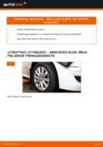 Mekanikerens anbefalinger om bytte av MERCEDES-BENZ Mercedes W245 B 200 CDI 2.0 (245.208) Bærebru