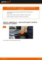 Kuinka vaihtaa jarrupalat eteen Audi A4 B7 Avant-autoon – vaihto-ohje