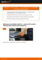 Kako zamenjati avtodel zavorni diski spredaj na avtu Audi A4 B7 Avant – vodnik menjave