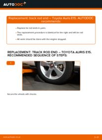 How to carry out replacement: Track Rod End on 1.4 D-4D (NDE150_) Toyota Auris E15