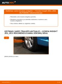 Kaip atlikti keitimą: 1.3 Hybrid (ZE28, ZE2) Honda Insight ZE2/ZE3 Skersinės vairo trauklės galas