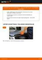 Lær hvordan skifter Bremseklodser foran og bag på AUDI - gratis instruktionsbog