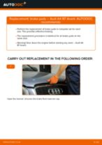 Step by step PDF-tutorial on Brake Pads Audi Q7 4L replacement