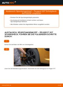 Wie der Wechsel durchführt wird: Spurstangenkopf 1.4 HDi Peugeot 207 WA tauschen