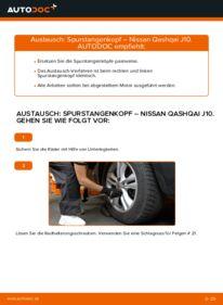 Wie der Wechsel durchführt wird: Spurstangenkopf 1.5 dCi Nissan Qashqai j10 tauschen