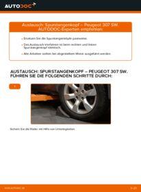 Wie der Wechsel durchführt wird: Spurstangenkopf 1.6 HDI 110 Peugeot 307 SW tauschen