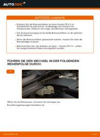 Wie der Wechsel durchführt wird: Bremsscheiben 2.0 (RD4) Honda CR-V II tauschen