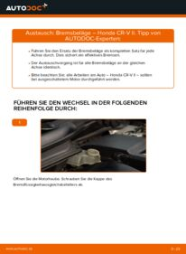Wie der Wechsel durchführt wird: Bremsbeläge 2.0 (RD4) Honda CR-V II tauschen