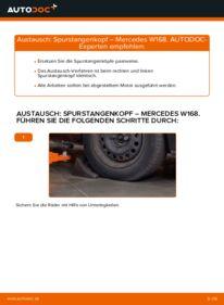 Wie der Wechsel durchführt wird: Spurstangenkopf A 140 1.4 (168.031, 168.131) Mercedes W168 tauschen
