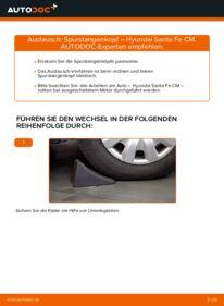 Wie der Wechsel durchführt wird: Spurstangenkopf 2.2 CRDi 4x4 Hyundai Santa Fe cm tauschen