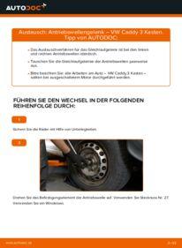 Wie der Wechsel durchführt wird: Antriebswellengelenk 1.9 TDI VW Caddy 3 kasten tauschen