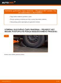 Ako vykonať výmenu: Hlava / čap spojovacej tyče riadenia na 2.0 HDi 135 Peugeot 407 Sedan