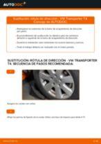 Cómo cambiar y ajustar Cable de accionamiento freno de estacionamiento VW TRANSPORTER: tutorial pdf