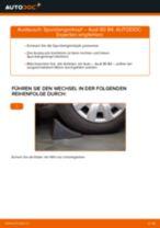 Bremsbacken Handbremse hinten + vorne wechseln: Online-Anweisung für AUDI 80