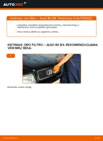 Kaip atlikti keitimą: 2.0 Audi 80 b4 Oro filtras