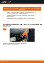 Wie Bremsklötze AUDI 80 austauschen und anpassen: PDF-Anweisung