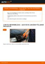 Hur byter man och justera Bromsklossar AUDI 80: pdf instruktioner