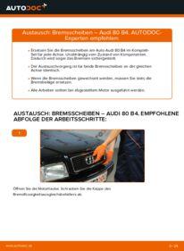 Wie der Wechsel durchführt wird: Bremsscheiben 2.0 Audi 80 B4 tauschen