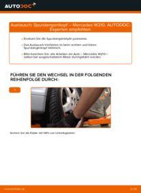Wie der Wechsel durchführt wird: Spurstangenkopf E 300 3.0 Turbo Diesel (210.025) Mercedes W210 tauschen