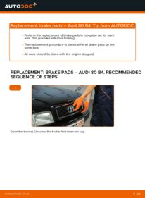 How to carry out replacement: Brake Pads on 2.0 Audi 80 b4