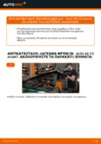 Δωρεάν οδηγίες για Δαγκανα φρενου AUDI A6 Avant (4B5, C5) αλλάξετε