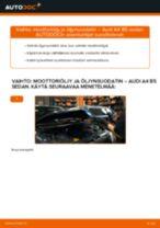 Kuinka vaihtaa moottoriöljy ja öljynsuodatin Audi A4 B5 sedan-autoon – vaihto-ohje