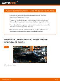 Wie der Wechsel durchführt wird: Innenraumfilter 1.6 Audi A4 B5 tauschen