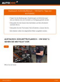 Wie der Wechsel durchführt wird: Kühlmittelflansch 1.8 GTI Golf 2 tauschen