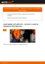 Kuidas vahetada ja reguleerida Lisakomplekt, Ketaspidurikate VW GOLF: pdf juhend