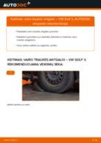 VW GOLF Skersinės vairo trauklės galas keitimas: nemokamas pdf