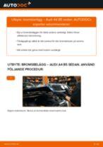 Byta bromsbelägg fram på Audi A4 B5 sedan – utbytesguide