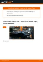 Slik bytter du luftfilter på en Audi A4 B5 sedan – veiledning