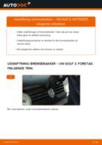 Skifte Bremsebakker VW GOLF: værkstedshåndbog