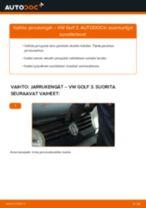 Kuinka vaihtaa jarrukengät taakse VW Golf 3-autoon – vaihto-ohje