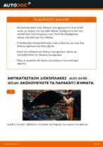 Πώς να αλλάξετε δισκόπλακες πίσω σε Audi A4 B5 sedan - Οδηγίες αντικατάστασης