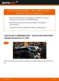 Wie der Wechsel durchführt wird: Bremsbeläge 1.6 Audi A4 B5 tauschen