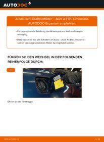 Wie der Wechsel durchführt wird: Kraftstofffilter 1.6 Audi A4 B5 tauschen