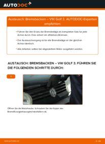 Wie der Wechsel durchführt wird: Bremsbacken 2.8 VR6 Golf 3 tauschen