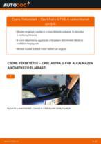 Hátsó fékbetétek-csere Opel Astra G F48 gépkocsin – Útmutató