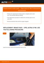 How to change rear brake pads on Opel Astra G F48 – replacement guide