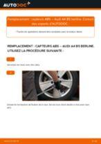 Instructions gratuites en ligne sur comment rénover Capteur de roue abs AUDI A4 (8D2, B5)