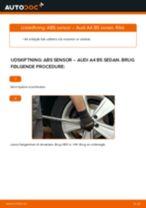 Skifte Slidindikator Bremsebelægning AUDI A4: værkstedshåndbog