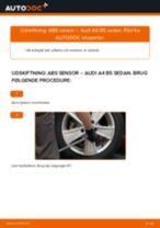 Skifte Abs føler AUDI A4: guider online