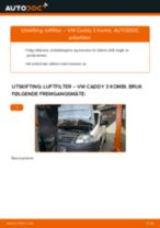 Hvordan bytte og justere Bremsetrommel VW CADDY: pdf håndbøker