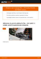Kako zamenjati avtodel motorna olja in filter na avtu VW Caddy 3 Kombi – vodnik menjave