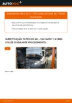 Como mudar filtro de ar em VW Caddy 3 Kombi - guia de substituição
