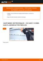 Paigaldus Süüteküünal VW CADDY III Estate (2KB, 2KJ, 2CB, 2CJ) - samm-sammuline käsiraamatute