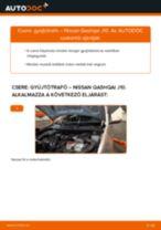 Hogyan cseréje és állítsuk be Fékdob NISSAN QASHQAI: pdf útmutató