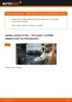 VW CADDY Gaisa filtrs maiņa: bezmaksas pdf