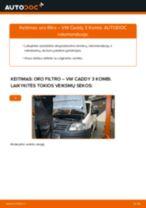 Kaip pakeisti VW Caddy 3 Kombi oro filtro - keitimo instrukcija